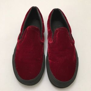 Vans Burgundy Red Velvet Slip On Shoes